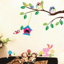 animals wall stickers kids play room decorations 1017. owls adesivos de paredes home decals nursery mural art birthday gift 4.0(China)