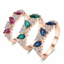 ZHOUYANG Top Quality Crystal Ring Rose Gold Color Austrian Crystals Full Sizes Wholesale ZYR264 ZYR254