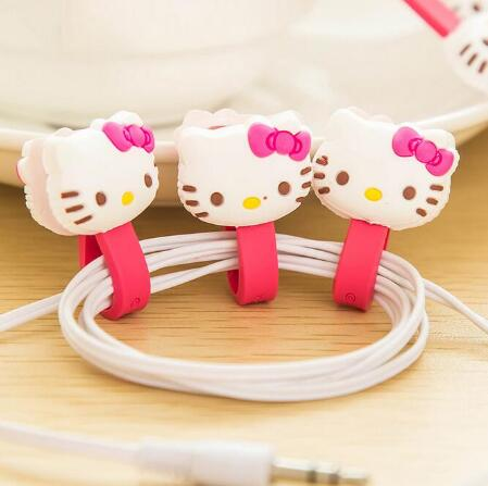 10pcs/lot Hello Kitty Kawaii Earphone Cable Manage Winder /Cable Holder Organizer for MP3 MP4 Phone Accessories(China (Mainland))