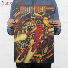 IRON MAN Marvel Comics retro Movie Kraft Paper Poster vintage Wall Sticker Painting Antique Home decor for bar cafe pub 51*35CM