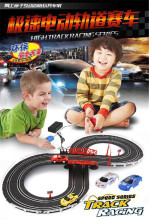 High speed track racing series children car toys electric rail road car slot hand generate rc birthday gift for boys  brinquedos