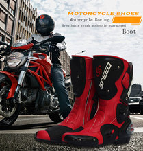 Fashion Motorcycle Boots Men Racing Boots Sport Icon Moto Cycling Boots Bike Boot Shoes Size 40-45 B1001(China)