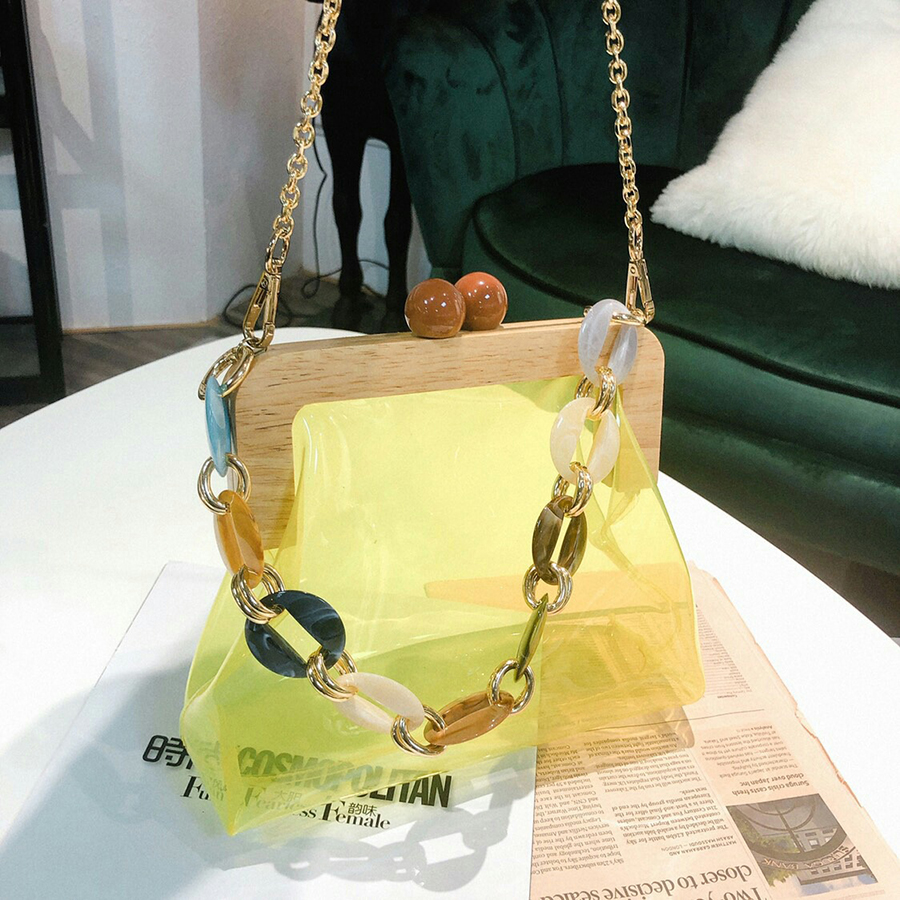 Wood Clip PVC Clear Jelly Handbag Woman 2019 New Designer Korean Acrylic Chain Transparent Jelly Shoulder Bag Clutch Female