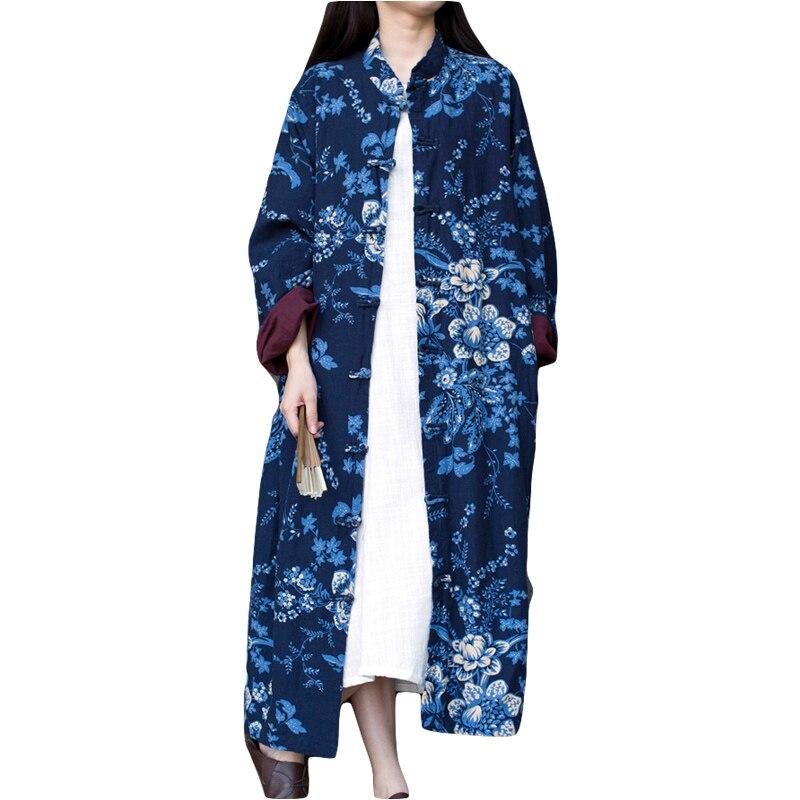 2016 Hot Selling Vintage Embroidery Flower Pattern Slim Cotton Linen Down Jacket .Winter Jacket Women Long Coat Îäåæäà è àêñåññóàðû<br><br>