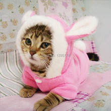 Cute Pet Cat Clothes Easter Bunny Costume Hooded Coat Fleece Warm Rabbit Outfit Clothing for Cats New Cat Costume 29S2