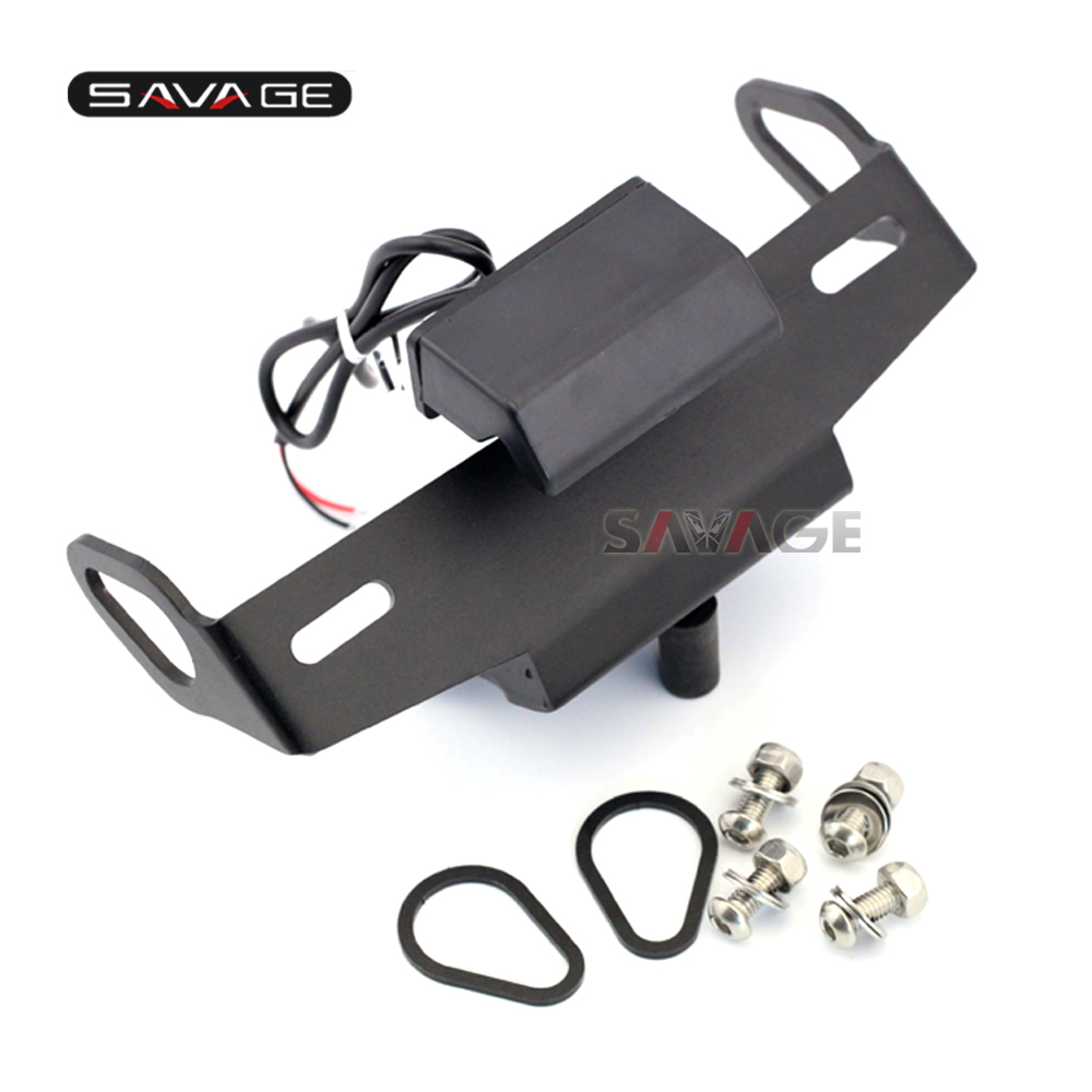 For YAMAHA MT-07 Tracer MT-09 FZ-09 MT-10 FZ-10 Motorcycle Motorbike CNC Aluminum Registration License plate Holder LED Light<br>