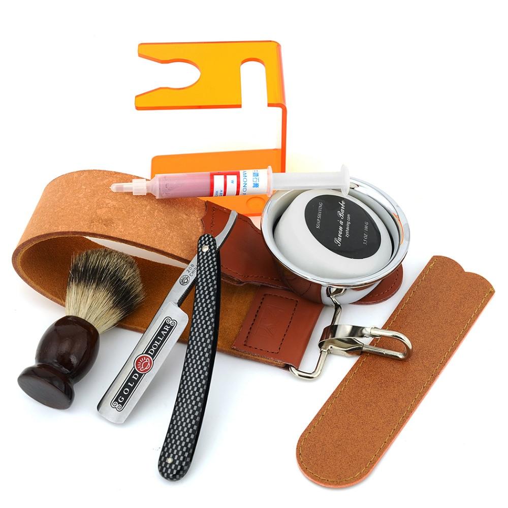 ZY Men Shaving Kit Straight Razor + Badger Hair Beard Brush + Holder+Soap Bowl + Leather Sharpening Strop+ Polishing Paste Set<br>