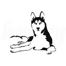 Husky Dog Poppy Vinyl Decal Car Sticker Window Bumper Wall Glass Auto Van Door Laptop Gift Black New