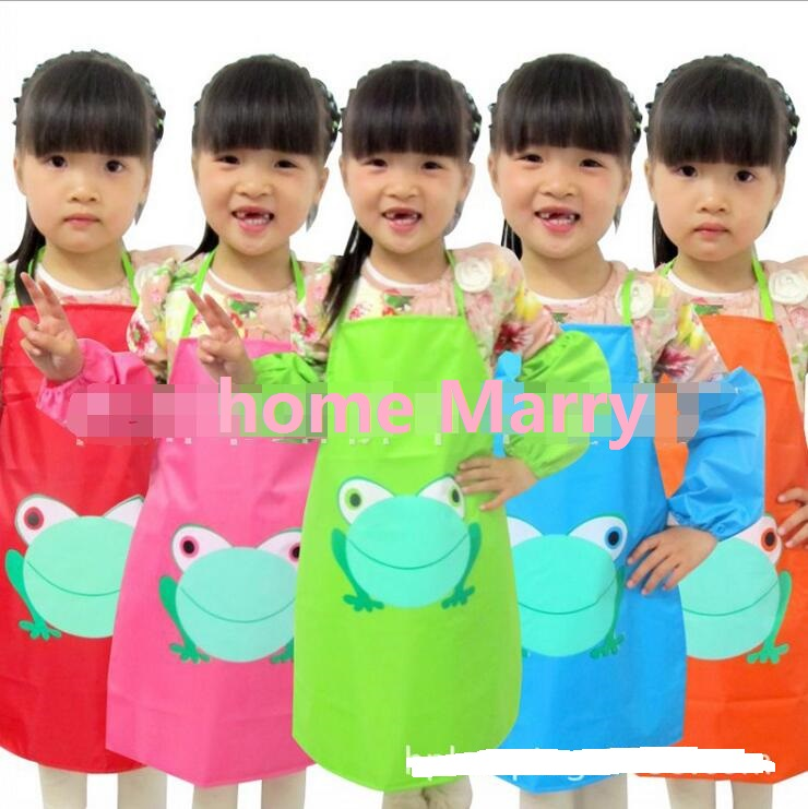Hot sale New Kids Aprons sleevelet Set Children Apron Draw the clothes Waterproof overall Apron cuff 1 Set= Aprons+oversleeve(China)