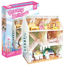160PCS Dreamy Dollhouse Princess Series 2016 New 3D Puzzle DIY Jigsaw Assembly Model Building Set Architecture Kids Girls Toys