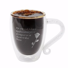 KEYTREND Double Wall Coffee Mugs Funny Personalized Engraving Glass Mug Crystal & Acrylic Rhinstones Filled Handgrip AECL074(China)