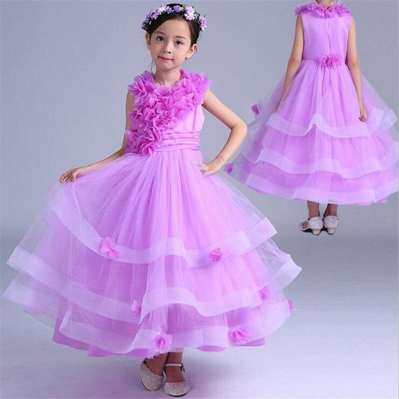 Fashion Girls Long Dress Childrens Show Host Evening Dresses Wedding Cocktail Party Dress Purple Flower Lace Princess Dresses<br>