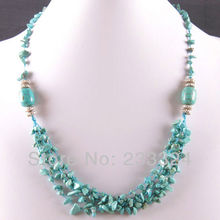 "Free Shipping New without tags 5X8MM Natural Blue Howlite Chip Beads Nylon Line Weave Necklace 22"" 1Pcs RE729(China)"