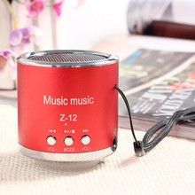 Z12 Mini Speaker Metal Steel Stereo Speakers With FM Radio Amplifier Support Mic USB SD TF Card Portable Audio Player For Phone(China)