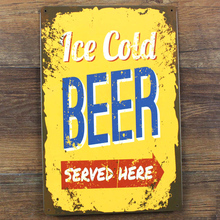 Vintage House Cafe bar Poster Ice cold beer poster Metal Tin Signs retro Painting wall art decor house decoration 20x30 cm(China)