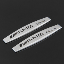 1PCS For Mercedes Benz AMG Badge Door Metal Emblem Decal Auto Letter Silver Logo Back Glue Car Sticker YS006 Free Shipping(China)