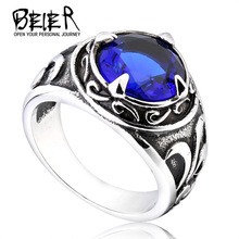 2017 New Vintage Man Woman Blue Stone Fashion Retro Cool Jewelry Stainless Steel Ring BR8-270