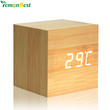 Wooden LED Digital Alarm Clock With Thermometer LED Display Temp Date Calendars Electronic Desktop Digital Table Clocks For Gift(China)