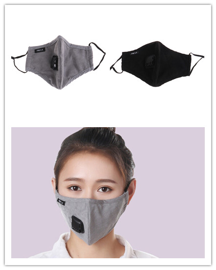 Anti Dust Mask PM2.5 Mouth Mask Activated Carbon Filter Windproof Mouth-muffle Bacteria Proof Flu Face Masks Care 2 Clour