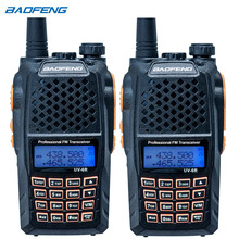 2PCS UV-6R walkie-talkie Professional CB radio Dual band 128CH LCD display Wireless UV6R portable two way radio(China)