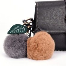 2017 Rabbit Fur Ball Keychain Pom Pom Fluffy Key Chains Pompom Car Keyring Women Bag Pendant Pompom De Fourrure(China)