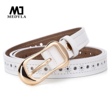 MEDYLA new Women's strap genuine leather casual all-match Women brief leather belt women's strap belt students pure color belts(China)