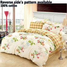 Quality 4PCS 100% Cotton Single/Twin/Double/Full/Queen/King Size Bed Quilt/Duvet/Doona Cover Set Yellow Check Garden Green Fruit