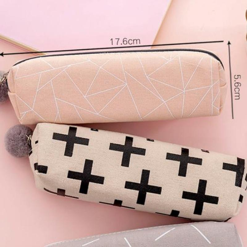 1pcs Canvas Pencil Case Cute Stationery Novelty Pencil Pouch Kawaii Zipper Pen Bag Cute Cartoon Pen Case School Office Supplies