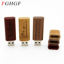 FGHGF wooden chip USB flash drive stick pendrive 4GB 8GB 16GB 32GB USB creativo memory card personal LOGO wedding gift(China)