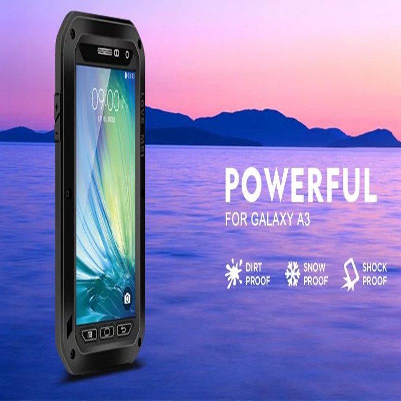 LOVE MEI Powerful Water Shock Proof Tempered Glass Funda Case For Samsung Galaxy A3 2015 A300 A300F Water/Shock/Dirt Proof Cover