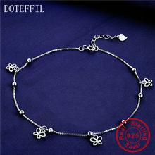 New Arrivals 925 Sterling Silver Flowers Anklet Woman Charm 3mm Beads Silver Anklet Fashion Luxury Jewelry(China)