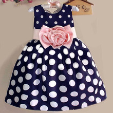2017 Summer Kids Toddler Girls Princess Dress Sleeveless Polka Dots Bowknot Flower Vest Dresses 3 color Quality Navy Blue White