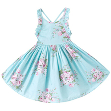 1-12T New Arrival Bohemian Beach Girls Summer Dress 2017 Printed Floral Kids Backless Party Dress Girls Casual Dress(China)