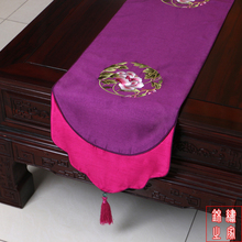 200*33cm Chinese Classic Luxurious embroidered Flower Pattern Brocade Purple Table Runner and Bed Flag With Tassel
