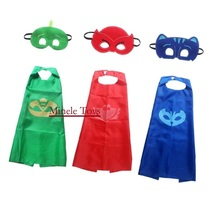 2pcs/set Superhero Carnaval Party Mask Role-play cloak Cape Mask Owlette Catboy Gecko Pajamas Cosplay Action Toy Gekko Costume