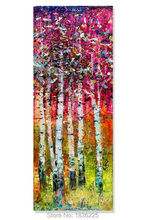 Handmade High Quality Decoration Abstract Knife Oil painting Birch Forest Landscape Painting Modern Red Tree Wall Art Picture(China)