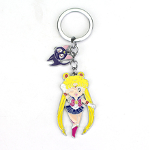 Hot 2017 New Arrive Sailor Moon figure keychain Sailor Moon anime girl With cat pendants Keyring Kids bags Accessories best Gift