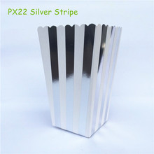 12pcs/lot Metalic Silver Striped Paper Candy Boxes for wedding Pop Corn Favor Bags Birthday Party Supplies