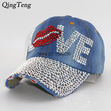 Mouth LOVE Rhinestone Denim Baseball Cap Good Quality Outdoor Sports Snapback Hats For Men And Women 2016 Wholesale Brand