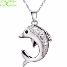 2017 fast shipping jewelry Fashion wedding bridal silver plated chain cupper Zircon rhinestones dolphin Necklace Pendant 51104