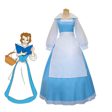 Anime Beauty and the Beast Princess Belle Blue Maid Uniform Cosplay Costume Full Set Fancy Party Apron Dress