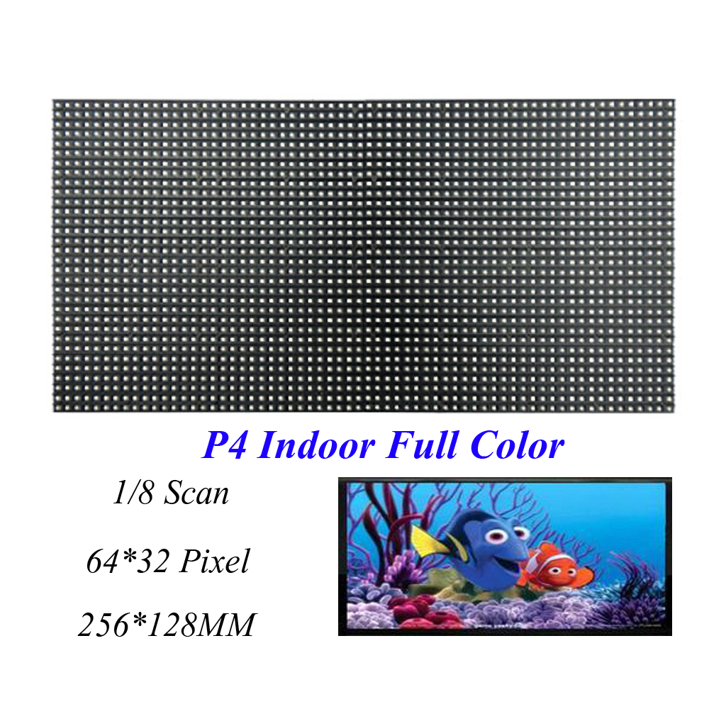 LED Screen Indoor Display P4 256*128MM 64*32 Pixel 1/8 Scan 3 in1 SMD2121 RGB Full Color LED Module Dot For LED Video Wall Sign<br>