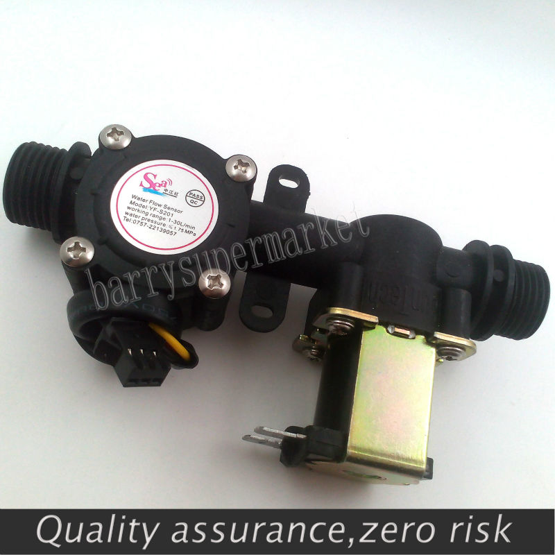 Water flow meter sensor indicator counter with Solenoid Valve automatic billing system for Water heaters water dispenser G1/2<br><br>Aliexpress