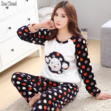 Sea Cloud Free shipping Winter plus size  XS-5XL thickening flannel sleepwear women set coral fleece big Pajama Sets big pijama