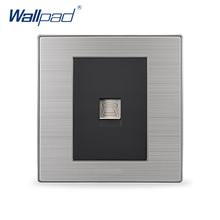 2017 Hot Sale Telephone Socket Wallpad Luxury Wall Power Socket TEL Outlet Black / Champagne AC 110-250V(China)