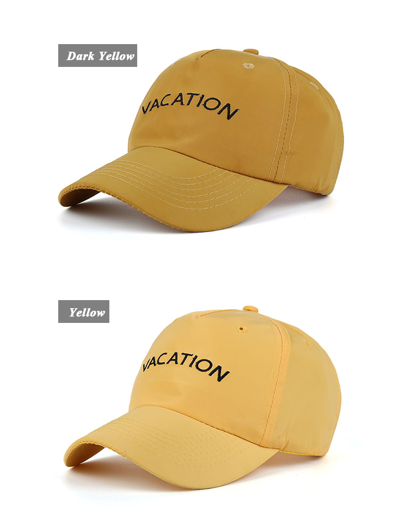 "Embroidered ""Vacation"" Baseball Cap - Dark Yellow Cap and Yellow Cap"