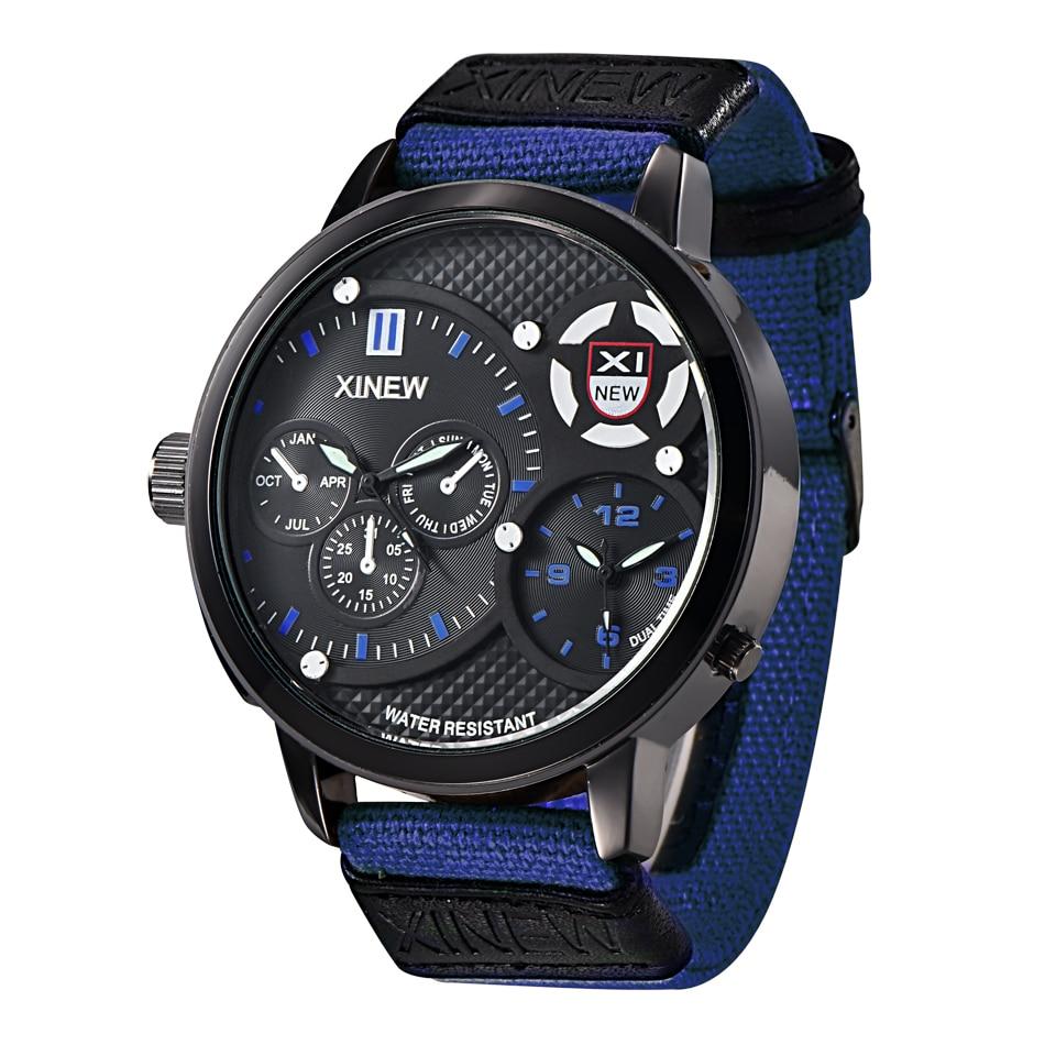 5 Color Men XINEW Brand Watches Mens Wholesale Dual time Clock Man Waterproof Large Hours Male Quartz Wrist Watch montre homme<br><br>Aliexpress