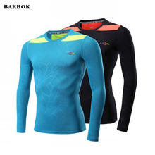 BARBOK Male Compression Shirts Breathable Quick Dry Running Tights Fitness Training T-shirt Long Sleeve Cycling Football Top