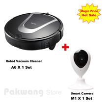 A6 Planned Robot Vacuum Cleaner 600ml dustbin Auto charge Vacuum cleaner and Camera Baby/pet Monitor (available to play music)(China)