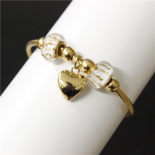 2017 Popular Girls Ladies Trinkets Stainless Steel Golden Opening Bangle Bracelet Heart Lovers Beads Bracelet Charming Style